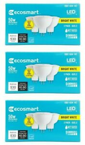 3 Boxes EcoSmart 50W Replacement 7.5w LED 18 Light Bulbs GU5.3 MR1612V Dimmable