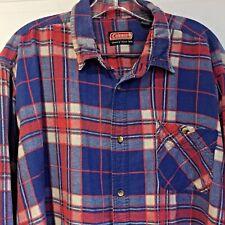 COLEMAN Brushed FLANNEL= Shirt Two-Pocket Red BLUE Check Men's Size 2XLT