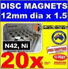 20X DISC Neodymium Rare Earth Magnets 12mm X 1.5mm N42