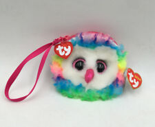 TY Owen Beanie Boos Wallet Coin Purse Wristlet Gift Rainbow Owl With Tag New