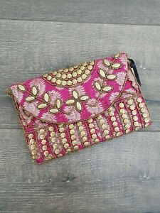 Gringo Fairtrade Small Embellished Pink String Shoulder Bag - Ex-Sample