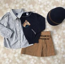 EUC Janie And Jack Girls 2T 2 Equestrian Horse Sweater Riding Lesson Hat Skirt