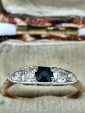 Vintage 14ct Gold Sapphire & Diamond Ring. Size Q