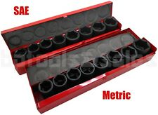 "18pc 3/4"" Drive (Metric & SAE) Air Impact CR-V Steel Socket Set w/ Metal Case"