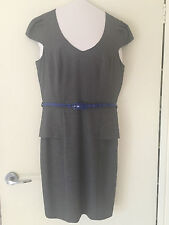 Review grey pinstripe dress with blue belt - size 12 - fantastic condition