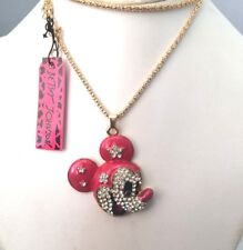 Mickey Mouse Face Pendant Necklace Betsey Johnson Red Enamel Crystal