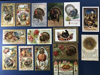 15 Thanksgiving Antique Postcards Turkeys Gold & Silver Trim For Collectors NICE