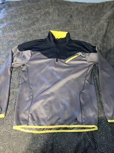 Men's Adidas Lightweight Quarter Zip Running Jacket Grey/Yellow Size M