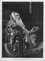 RABBI HELD IN HIGH ESTEEM NEW YORK RABBI RELIGION ANTIQUE 1891 ENGRAVING
