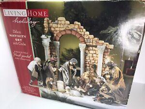 Living Home Deluxe 14 Piece Nativity Set w/ Creche Christmas Decorations | RARE!