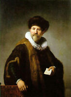 Oil painting Rembrandt Netherlands - Male Portrait of Nicolaes Ruts with hat art