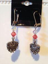 PEACH Crystal Heart Earrings Great Gift