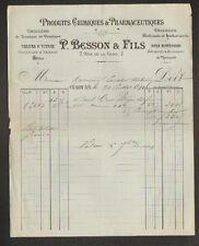 """CHALON-sur-SAONE (71) PRODUIT CHIMIQUE & PHARMACEUTIQUE """"P. BESSON & Fils"""" 1891"""