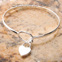 625 Sterling Silver Charm Peach Heart Bangle Bracelet