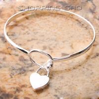 625 Sterling Silver Charm Peach Heart Bangle Bracelet