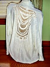 Forever 21 knit crochet draped wrap waterfall tunic long sleeve top - Size M