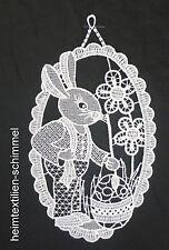 PLAUENER SPITZE ® Fensterbild OSTERHASE Fensterdeko Ostern HASE Frühling weiß