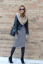ZARA LONG SLEEVE BLACK & ECRU STRIPED KNITTED MIDI DRESS SIZE S UK 8-10
