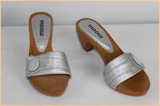 Zapatos Mules MOOW Gris Plateado y Madera T 36 EXCELENTE ESTADO