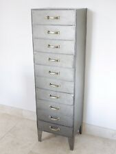 Metal Industrial Style Cabinet Vintage Factory Tall Boy Filing Cabinet 10 Draws