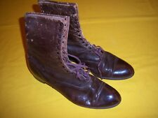 1900s EDWARDIAN BROWN LEATHER HIGH TOP CAP TOE BOOTS SHOES VINTAGE