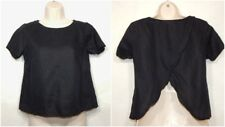 MADEWELL WOMENS FLAX LINEN SCENIC VIEW TOP XS X-SMALL SHIRT BLOUSE BLACK J.CREW