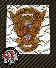 """(2x) CHP CALIFORNIA HIGHWAY PATROL MOTORCYCLE WING AND WHEEL - DECALS 4"""" x 3"""""""