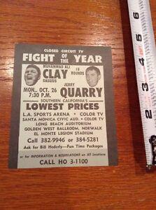 Muhammad Ali Cassius Clay vs  Quarry original closed circuit tv boxing card 1972