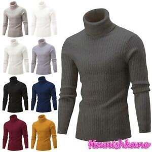 Mens Long Sleeve Polo Neck Jumper Cable Knitted Casual Winter Sweater Pullover