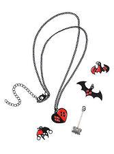DC Comics Harley Quinn Interchangeable 5 Charm Necklace Heart Mallet Logo Hat