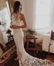 White/Ivory Mermaid Lace Wedding Dress Bridal Gown Custom Size 4+6+8+10+12+14+++