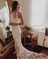 White/Ivory Mermaid Lace Wedding Dress Bridal Gown Custom Size 4+6+8+10+12+14+++