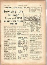 Triumph 2 L & 14/60 Dolomite & Vitesse 1937-38 Motor Trader Service Data No 34