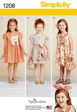 SIMPLICITY SEWING PATTERN CHILD'S DRESSES PURSES & HEADBAND SIZES 3 - 8 1208