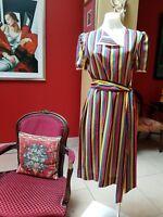 Vintage 70's Salvatore Ferragamo stripped silk shift dress with sash. Size 8, 10