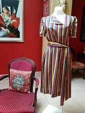 Vintage 70's Salvatore Ferragamo stripped silk shift dress with sash. Size 8, 10