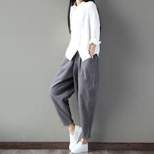 Ladies Mens Harem Trousers Cotton Baggy Loose Casual Drop Crotch Wide Leg Pants