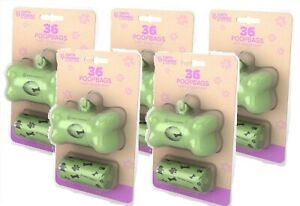 (5 Pack) Earth Friendly Bone Shaped Poop Bag Dispenser, 2 Refill Rolls Per Pack