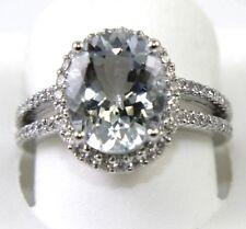 Oval Aquamarine & Diamond Halo Bridge Platinum Ring 3.72Ct