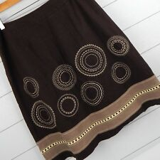 Talbots Size 12 Brown Linen Lined Embellished A-Line Midi Skirt
