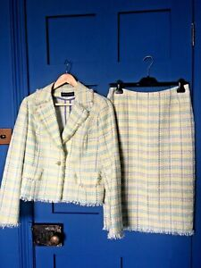 In style CHANEL   Pastel Check Skirt-Suit by LOUISE KENNEDY Size 12 IMMACULATE
