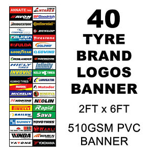 40 Tyre Brand logos PVC Vinyl Banner Tyre Garage Workshop Mancave Sign 2ftx6ft