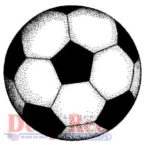 Deep Red Stamps Soccer Ball Rubber Cling Stamp