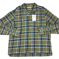 RM Williams Mens Camp Collar Long Sleeve Work Shirt Green Blue Plaid XL RRP $149