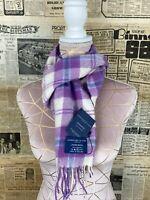 Johnstons of Elgin Purple Cunningham Tartan Pure Cashmere Scarf unbeatable warmt