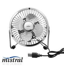 10cm USB Mini Desk Fan Silver -  5V DC with Tilt adjustment - Mistral