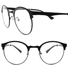 Classic Retro Fashion Mens Womens Indie Urban Hip Black Round Clear Lens Glasses