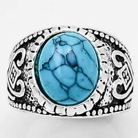 Turquoise 925 Sterling Silver Plated Handmade Ring Jewelry s.7.5 MR01130