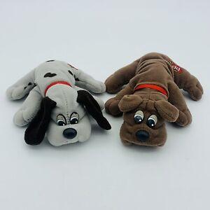 "Vintage 2 Pound Puppies Newborn Pair Tonka Small 80's Plush 8"" Dog Puppy"