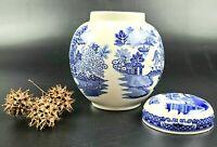 Vintage Sadler Pottery Blue Willow Ginger Jar with Lid - Made in England